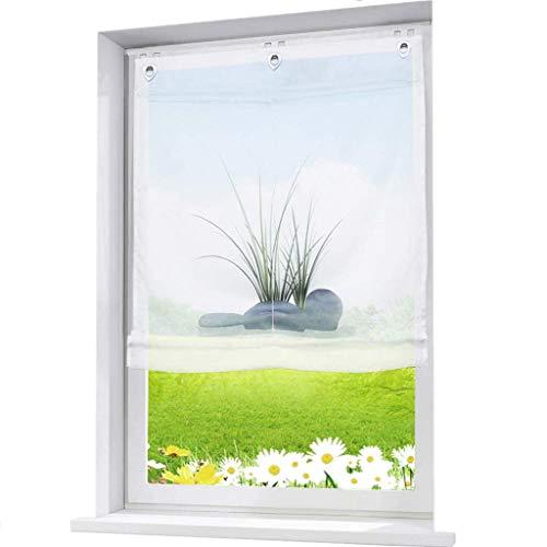 ESLIR Raffrollo Ohne Bohren Gardinen Küche Raffgardinen mit Ösen Transparent Ösenrollo Vorhänge mit Glas Druck Voile Weiß BxH 80x140cm 1 Stück