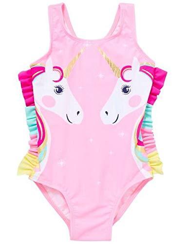 Geagodelia Traje de baño completo para niña de 0 a 7 años, sin mangas, estampado de dibujos animados Rosa-Unicornio 6- 9 meses