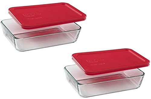 Pyrex COMINHKR082745 3-Cup Rectangle Food Storage, Pack of 2 Containers, Box of 2, Clear, Red Cover