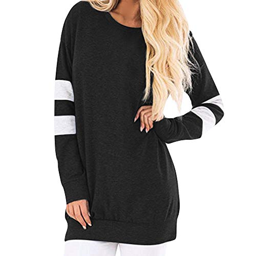 Womens Gestreepte Sweater O Nek Clearance - Jiayit Vrouwen Casual Lange Mouw Sweatshirt Pullover Lange Shirt Tuniek Tops Blouse Medium Zwart
