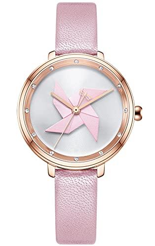 CIVO Reloj de pulsera para mujer, resistente al agua, correa de piel, elegante, informal, analógico, de cuarzo, para mujeres y niñas, moda informal, 2 rosa.,