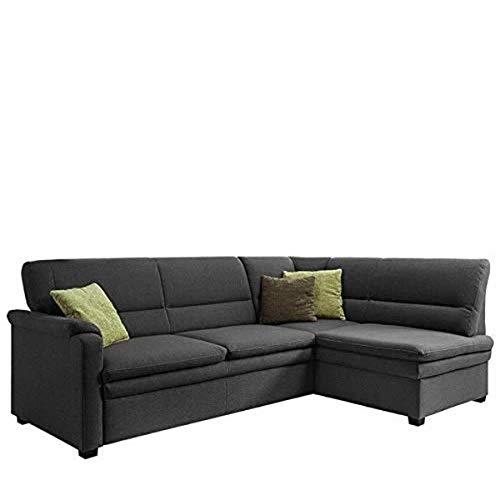 Cavadore Ecksofa Pisoo / Eckcouch mit Schlaffunktion / L-Sofa mit hochwertigem Federkern im klassischen Design / Ottomane rechts / Größe: 245 x 89 x 161 cm (BxHxT) / Farbe: Dunkelgrau (grau)