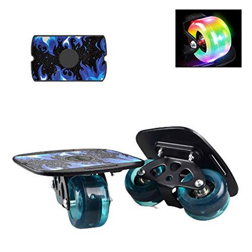 Shunfaji Drift Skates Freeline, Tragbare Anti-Slip Professionelle Erwachsene Roller Board, Driftboard Kinder Anfänger Reise Pinsel Street Artifact Split Skateboard (Blau)