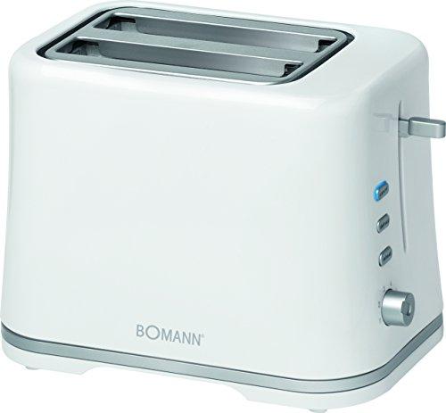 Bomann TA 1577 Tostadora, 3 funciones, calienta panecillos, 870 W, Plástico, 2 Ranuras, Blanco y plata
