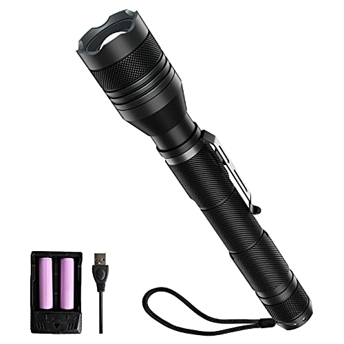 Rechargeable LED Flashlight, 1500 High Lumen LED Flashlight 7.87 Inch Emergency Flashlight Waterproof Zoomable and 5 Light Modes Camping Flashlight Includes 18650 Batteries and Charger