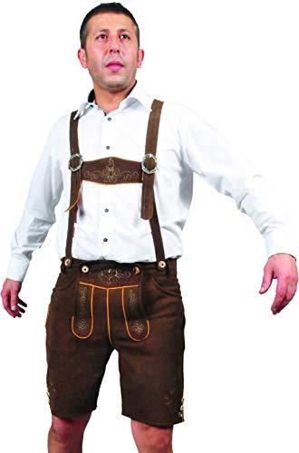 Lederhose Herren kurz, kuze Trachten Lederhose Damen mit Träger aus Leder Optik in braun (58, Braun)