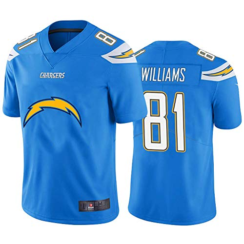 Rugby-Trikot #81 Mike Williams Chargers, American Rugby Football Trikot Fashion Stickerei Kurz Sport Unisex Fans Atmungsaktiv V-Ausschnitt T-Shirt XL blau