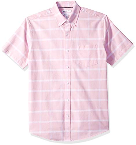 Amazon Essentials Men's Regular-Fit Short-Sleeve Pocket Oxford Shirt, Pink Windowpane, X-Large