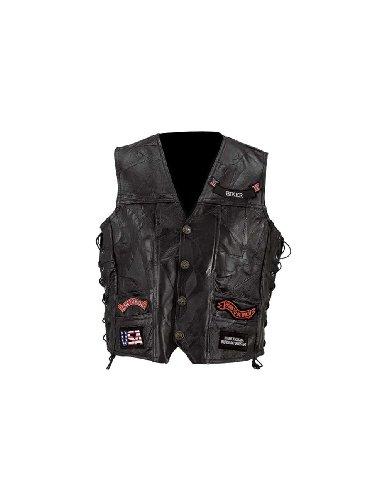 Diamond Plate™ Rock Design Genuine Buffalo Leather Vest (Medium)