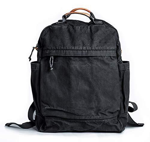Gootium Canvas Rucksack für Frauen Vintage Stil Reißverschluss Tasche Herren Casual Daypack Tuch Outdoor Reise Rucksack Schwarz