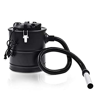 5.3 Gallon 1000W Ash Vacuum Cleaner Aluminum Reinforced Hose Designed for Barbecues, Fireplaces, Fire Pits, Smokers and Cold Ashes