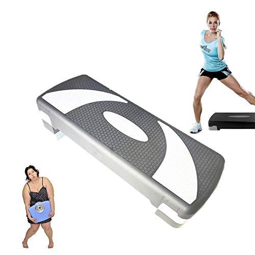 XOあ Aerobic Stepper Step Block Board, Fitnesspedal Höhenverstellbar 3 Stufen Aerobic Step für Zuhause und Fitnessstudio, Weiß