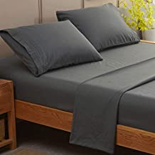 SONORO KATE Bed Sheet Set Super Soft Microfiber 1800 Thread Count Luxury Egyptian Sheets Fit 18 - 24 Inch Deep Pocket Mattress Wrinkle-4 Piece (Dark Grey, King)