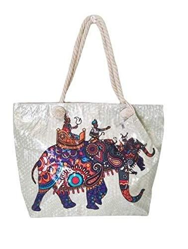 Goods4good Bolso Grande Playa Piscina Mujer XXL con Diseño de Elefantes Mándala Hindu Unicornio Sirena Animales Palmeras con Brillo Asas y Cremallera Ideal Verano Regalo. (Beige, 55x39x15)