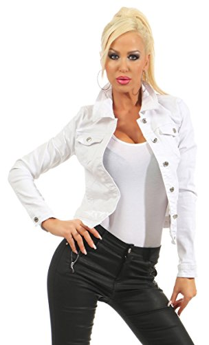 Fashion4Young 5197 Damen Jeansjacke Damenjacke Jeans Jacke Kurze Jacke Baumwolle Stretch-Denim (weiß, M-38)