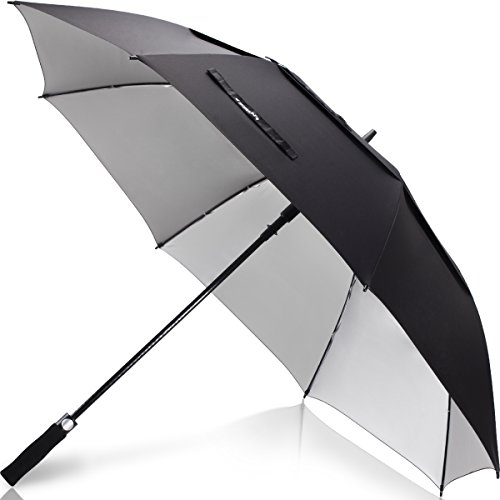 zekar 62/172,7cm Große winddicht Golf Regenschirm, belüftet Double Canopy und Auto öffnen, Schwarz Blau Rot Regenschirme, 62