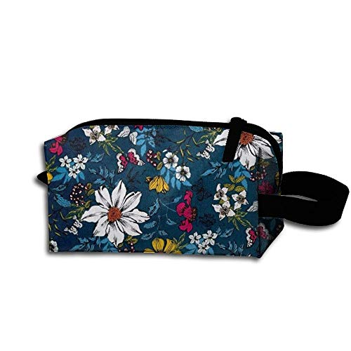 Travel Makeup Beautiful Flower Floral Beautiful Waterproof Cosmetic Bag Quick Makeup Bag Pencil Case