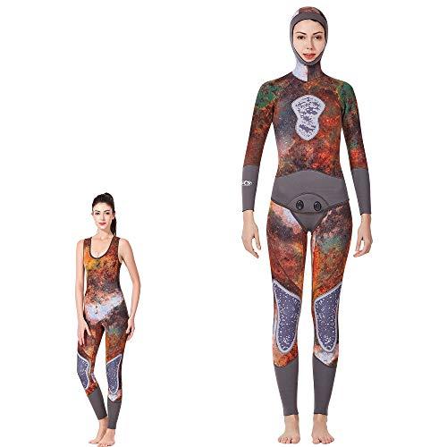 DUBAOBAO Duikpak tweedelig pak, mannen duiken en zeilen 3MM duikpak, camouflage neopreen surfen wetsuit, borst en knie pads