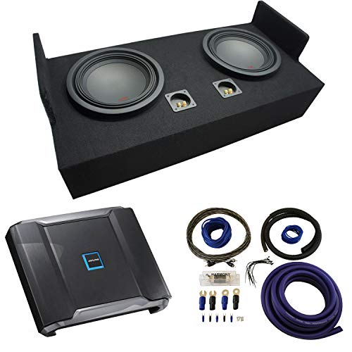 "Compatible with 1983-2012 Ford Ranger Extended Cab Truck Alpine Type R R-W12D2 Dual 12"" Sub Box Enclosure with R-A75M Amplifier & 0GA Amp Kit"