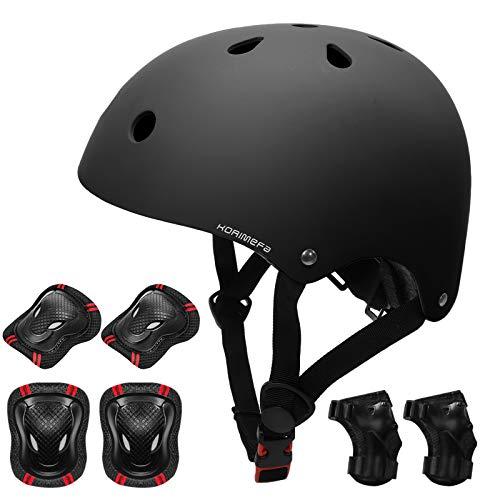 KORIMEFA Kinder Fahrradhelm Set Protektoren Set Schutzausrüstung Schonerset Protektoren Kinder für Kinderroller Skateboard Radfahren Skateboard 3-8 Alt Junge Mädchen (Schwarz, M)