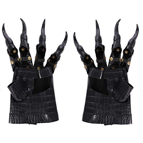 Gshy Guantes de Cuero de Halloween Garras de dragn Guantes de Disfraz de Cosplay Metal Tachonado Uas largas Disfraz de Mascarada de Halloween 27x12CM