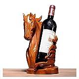 YOLANDE Botella de Vino de Madera de Palo de Rosa Tallado Caballo al éxito Vino Tinto decoración Estante de Accesorios de artesanías de Caoba de Origen Bandeja del Vino botellero de Madera Maciza
