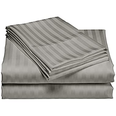 1200 Thread Count 100% Egyptian Cotton Superior Wrinkle Resistant 4PC Stripe Bed Sheet Set (King, Gray)