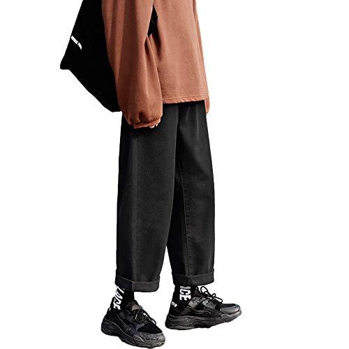 Pantalones Vaqueros para Hombre Moda de otoño Pantalones Vaqueros Casuales de Pierna Ancha Rectos Sueltos Pantalones Vaqueros clásicos japoneses de Color sólido M