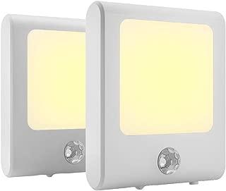 MAZ-TEK Plug in Motion Sensor Lights with Adjustable Brightness,Warm White Motion Activated Led Night Light for Hallway, Stair, Corridor, Kitchen, Living Room, Garage, Basement, Utility Room,2 Pack
