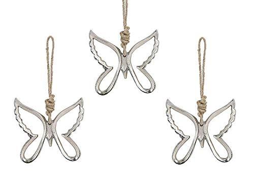 Marzoon 3 colgantes de mariposa de metal, 10 x 10 cm cada uno, forma abierta con cinta de yute para habitaciones, ventanas o decoración de mesa.