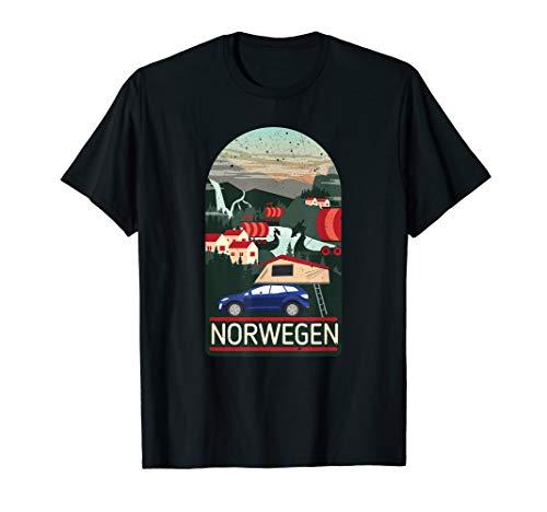 Dachzelt Reise Norwegen | Camping Campingurlaub | Dachzelten T-Shirt