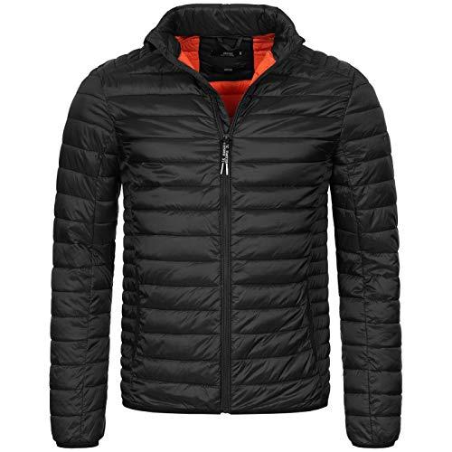 Indicode Designer Herren Winter Steppjacke Stepp Jacke leicht gefüttert B627 [B627-Amare-Schwarz-Gr.L]