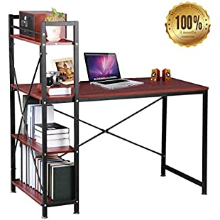 Dripex Steel Frame Wooden Home Office Table 4 Tier DIY Storage Shelves - Computer PC Laptop Desk Study Table Workstation Home Office Dark Brown