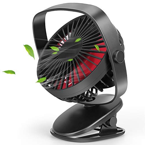 Zingiber USB Rechargeable Desk Fan,Portable Fan with 360 °Rotation, Battery Operated and USB Powered, Fast Air Circulating, Super Lower Noise, 3 Speeds Mini Fan for Office, Home and Travel (Black)