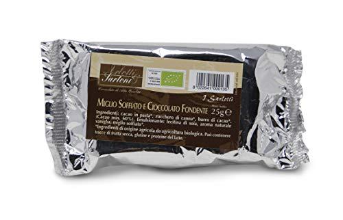 Carioni Food & Health Mini Tableta de Chocolate Negro y mijo inflado, Snack Bio - 25 gr (Paquete de 30 Piezas)