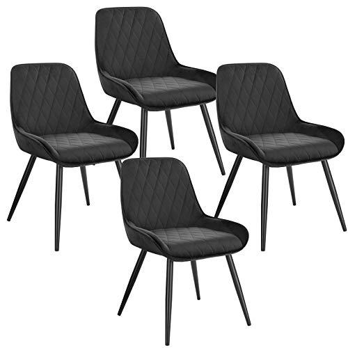 ELIGHTRY 4 Stücke Esszimmerstühle,Retro Küchenstuhl Wohnzimmerstuhl Sitzfläche aus Samt Retrostuhl mit Metallbeine Besucherstuhl Stuhl für Esszimmer Wohnzimmer Küche Schwarz