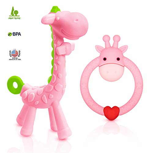 SHAREampCARE BPA Free 2 Silicone Giraffe Baby Teether Toy with Storage Case for 3 Months Above Infant Sore Gums Pain Relief and Baby Shower Set of 2 Different Teething Toys Pink