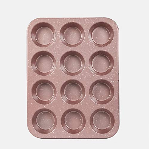 Cook with Color Bakeware Non Stick Cup Cake Pan Speckled 12 Cup Muffin Tin Baking Mold Rose Gold