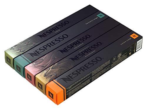 50 Nespresso Capsules - Luxury MIXED (New Linizio Lungo, Rosabaya, Dulsao, Indriya, Fortissio Lungo)