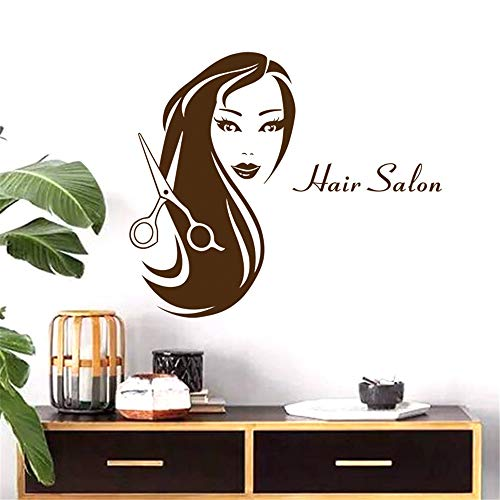 Preisvergleich Produktbild zlhcich Friseursalon Aufkleber Schönheit Schere Aufkleber Haarschnitt Name Poster Vinyl WandkunstAufkleber Dekor Dekoration Wandbild Salon Aufkleber37 * 58 cm