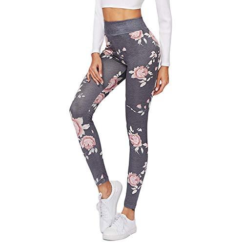 Adelina dames yogabroek leggings lange sport bedrukt gymbroek met modieuze complete, bloemenprint, nauwe broek, panty's, ondoorzichtige sportbroek, super fitness, hardlopen, yoga workout