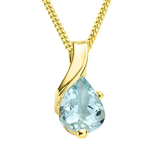 Miore Kette Damen Halskette mit tropfen Anhänger Edelstein/Geburtsstein Aquamarin in blau Kette aus Gelbgold 9 Karat / 375 Gold, Halsschmuck 45 cm lang
