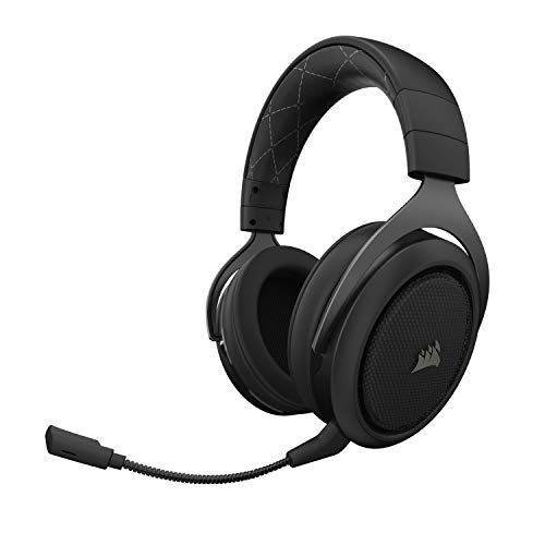 Corsair HS70 Wireless Gaming Headset - 7.1 Surround Sound Headphones for PC - Discord Certified - 50 Millimeter Drivers – Carbon