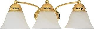 Nuvo Lighting 60/350 Three Light Vanity, Polished Brass/Alabaster Glass