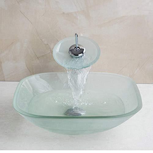 Jgophu Matte quadratische Glasschale Waschbecken Art-Deco-Waschbecken und Wasserfall Wasserhahn gehärtetes Glas Waschbecken Set