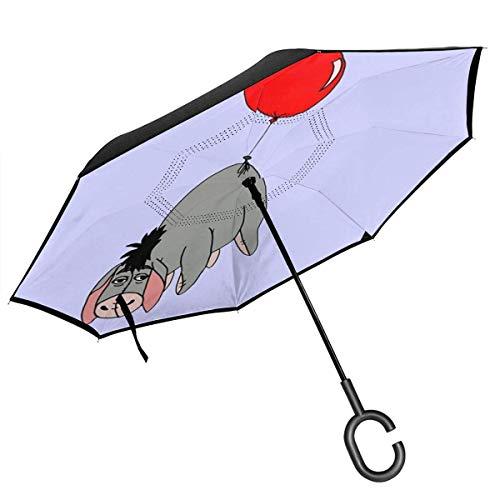 Umkehr-Regenschirm, zweilagig, faltbar, winddicht, UV-Schutz, langlebig, mit C-förmigem Griff innen, I-Aah Luftballon-Druck für Auto Regen Outdoor 8 Skelett