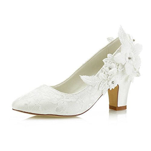 Mrs Right 62311 Women's Bridal Shoes Closed Toe Chunky Heel