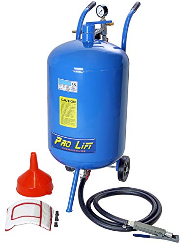 Pro-Lift-Werkzeuge Mobiles Sandstrahlgerät 63l Kessel Schlauch + Pistole Sandstrahlkabine 63 Liter Druckluft Sandstrahlanlage Strahlgerät mobil