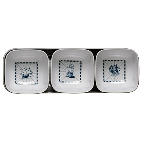 MB Coastal Designs Columbus Nautical Shatter Proof 4-Piece Snack Set, Navy Blue/White