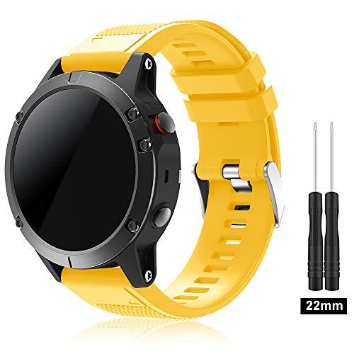 Garmin Fenix 5 Banda, TOPsic Silicona Reemplazo Correa con 2pzs Destornilladores para Garmin Fenix 5 / Forunner 935 Smart Watch, 13.5cm-22.5cm, no Adapta a Fenix 5x, 5s (amarillo)